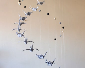 Mobile origami cranes 18 black, gray, white, and beads - hanging mobile