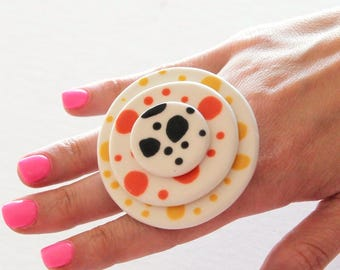 Statement Jewelry, Big Ceramic Ring  - Fashion ring, large ring, oversize ring, handmade ring, polka dot statement ring