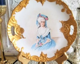 beautiful old vintage Marie Antionette Portrait plate gold guild handles