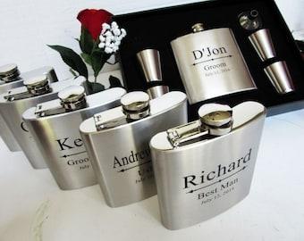 Set of 1 - 7 Piece Groomsmen Gift Set - 1 Personalized Flask, 4 Shot Glasses, 1 Funnel, 1 Groomsmen Gift Box FREE ENGRAVING