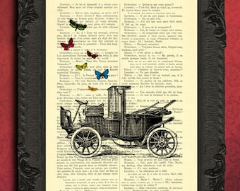 oldtimer with butterflies print antique car and butterfly art print