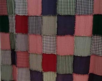 Farmhouse Shower Curtain, Rag Quilt, Rustic Country Bathroom Decor, Handmade, Shabby Chic