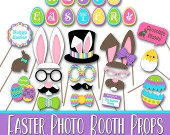 Happy Easter Photo Booth Props and Decorations - Printable - Over 30 Images in PDFand JPEG Formats - Digital Download- INSTaNT DOWNLoAD