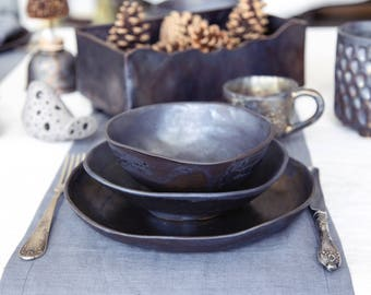 Ceramic dinnerware set Pottery dinner set Serving dishes Stoneware dinnerware Minimalist plate set Rustic dinnerware Handmade nesting bowls