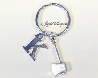 Ax Keychain, 8 tools to pick from, Saw Key Chain, Pliers, Hammer, Wrench Keyring, Gift for Contractor with initial letter paint brush broom