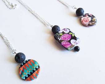 Lava bead necklace with patterned shell beads