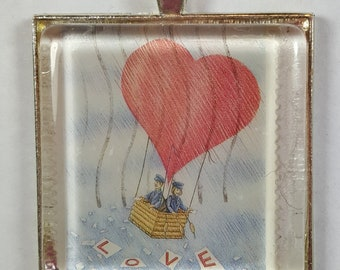 Love Hot Air Balloon Basket Drifting Dreamy Sweet Postage Stamp Pendant or Key Ring