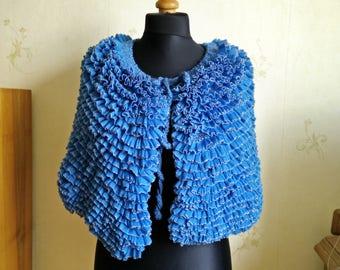 Blue knit capelet / knit wrap / bridal shawl bolero/