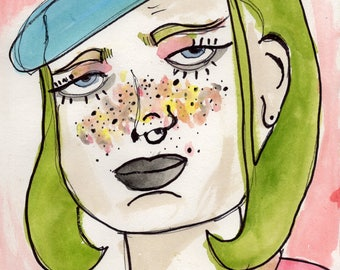 Print, watercolor, drawing, Portrait, figurative, woman, colorful, artwork, Indie, yellow, green, red, Art, painting, Expressionism, novelty