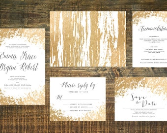 Printable Gold Foil Wedding Invitation Suite | Wedding Invitation Set, Gold Wedding Invitation, Gold Wedding, Wedding Invites