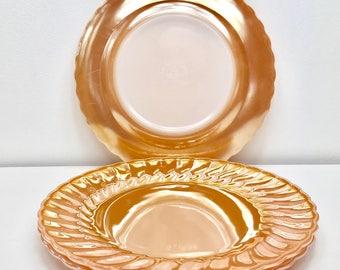 Anchor Hocking Fire King Dinner Plates, Peach Suburbia, Peach Lustre, Luster, Dinnerware, Peach Glass Plate, Vintage Kitchen, Mid Century