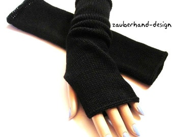 womens knit black mittens, black armwarmers merino, fingerless gloves for her,  STYLE-cotton-merino by zauberhanddesign