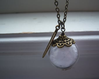 Feather Necklace - Glass Orb Necklace - Make A Wish Necklace -Angel Feather Necklace - Free Gift With Purchase