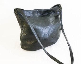 Black leather tote - Leather shoulder bag - Black leather purse - Leather tote - Leather carry on - Lauren Alexandra leather bag