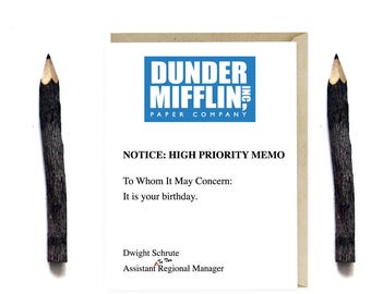 Dunder Mifflin Birthday Card - Funny The Office TV Series Birthday Card - Humor Card - Card for Office Fans - G53