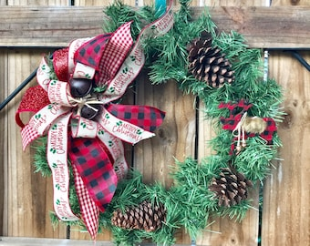 Gingham moose christmas wreath