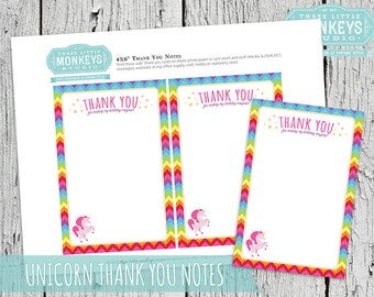 INSTANT DOWNLOAD Magical Rainbow Unicorn Thank You Notes