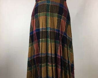 Vintage High Waist Pleated Full Circle Skirt Multicolored Brown Plaid