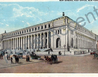 Vintage Postcard of The New General Post Office, New York, Circulated 1919