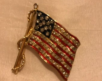 JBK Jackie Kennedy Signed American Flag Pin