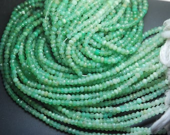 13 Inch Strand,Super Rare Finest Quality,Shaded CHRYSOPRASE Faceted Rondells Size 3.5-4mm,