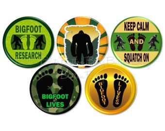 Bigfoot Button Badges, Sasquatch Pinback Buttons, Bigfoot Party Favors, Sasquatch Birthday Theme, Geocache Treasure, Bigfoot Badge -BB1590-5