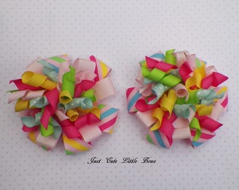 Easter Stacked Loopy Korker Pigtail Hair Bows Set of Two