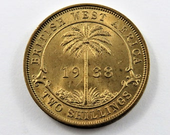 British West Africa 1938 K N Two Shillings Coin.