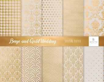 Wedding digital paper Damask digital paper gold beige ivory Commercial use Card making Scrapbook paper