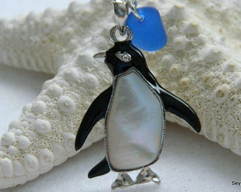 Abalone Penguin and Sea Glass Necklace