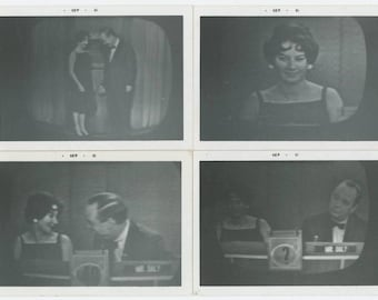 """Set of 4 Vintage Snapshot Photos: Screen Shots of """"What's My Line?"""" TV Show with John Charles Daly, 1961 (127624)"""