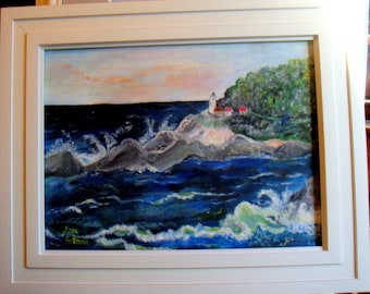 ORIGINAL ---- LIGHTHOUSE on English Coast Oil Painting Art Unframed Stretched Canvas Light House Waves Ocean Water