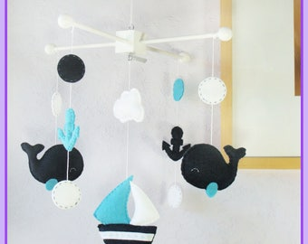 Baby Mobile, Whales Mobile, Sailboat Mobile, Nautical Baby Mobile, Whale and Anchor Mobile, Neutral Mobile, Navy Blue Aqua White