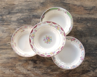 Mismatched Dessert Bowls Set of 4 Tea Party Serving Bowls Wedding 1940s Farmhouse Cottage Style China Replacement China