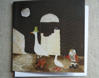 Owl Card - Owl and Goose Blank Greetings Card