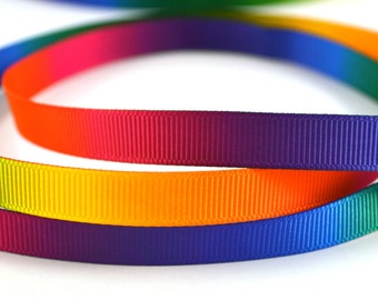 """Colorful Rainbow Grosgrain Ribbon 3/8"""" Wide  Scrapbooking HairBows Parties DIY Projects"""