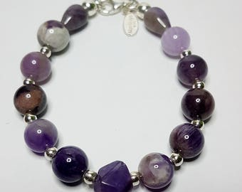 Amethyst Stone and silver. 925 silver Bracelet