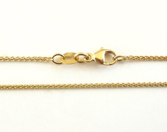 18K Gold Chain, wheat chain necklace, Solid Yellow gold necklace - Fine Jewelry