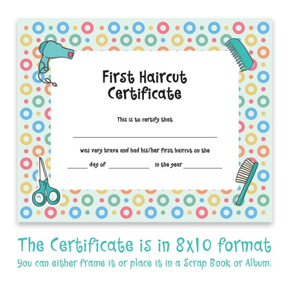 Baby First Haircut, Photo Certificate, Haircut Certificate, First ...