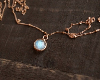 Tiny Moonstone Necklace, Rose Gold Necklace, Rose Gold Satellite Chain, Rainbow Moonstone, Simple Gemstone Necklace, Rose Gold Moonstone
