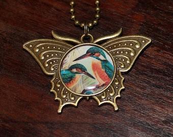 Kingfisher Necklace, Bird Jewelry, Animal Lover, Bronze Butterfly Pendant, Bird Watching, Gift For Birder