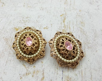 1928 Jewellery Company Pink Victorian Clip  Earrings Delicate  Pretty