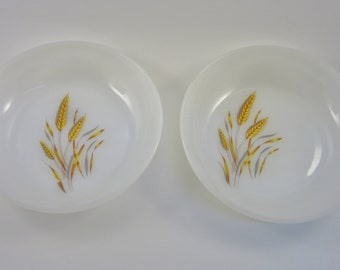Vintage Fire King Milk Glass - Wheat Design - Bowls and Plates - Dishes