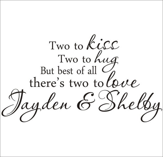 Twins Vinyl Wall Decal Large Nursery Bedroom Two to Kiss Two