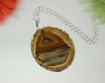 Brown Agate, Agate Pendant, Agate Necklace, Silver Plated Agate Slice Jewelry, APS50