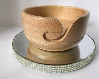 Wooden yarn bowl, hand turned from Ash ASH25