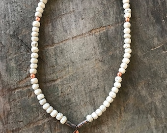 Mala Bead and Copper Necklace