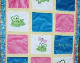 "Embroidered Minky Baby blanket ""Happy Little Froggies"""