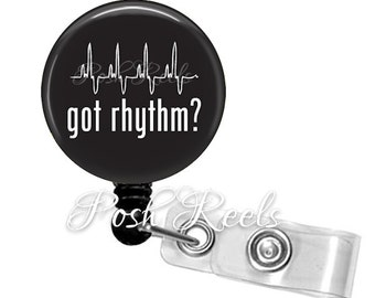 Retractable ID Badge Reel - Got Rhythm Reel Badge ID, ER Nurse Badge Holder - 0942