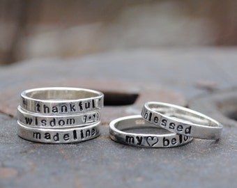 Personalized Sterling Stacking Name Rings . ONE (1) Personalized Name Ring for Stacking or Wearing Alone